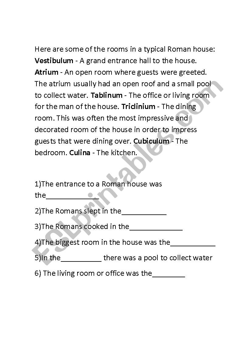 Housing In Ancient Rome worksheet