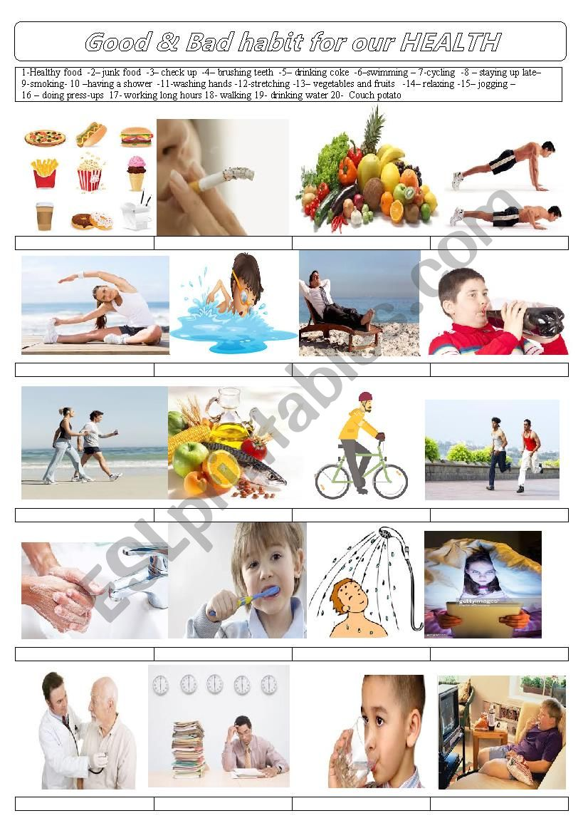 Good & bad habits for our health