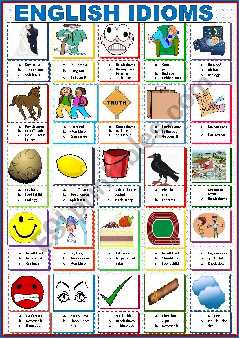 English Idioms worksheet