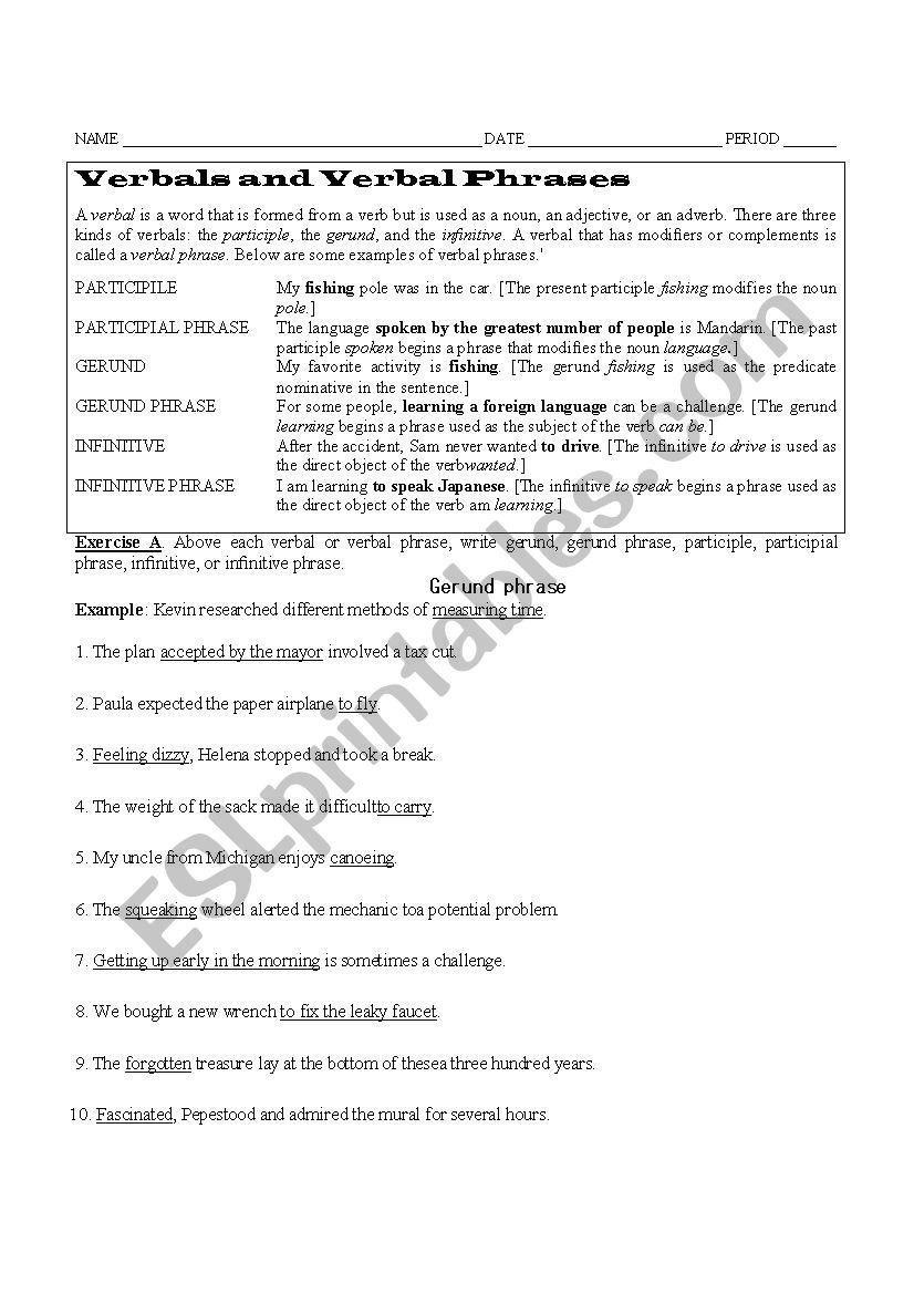 Verbals Verbal Phrases ESL Worksheet By Furg