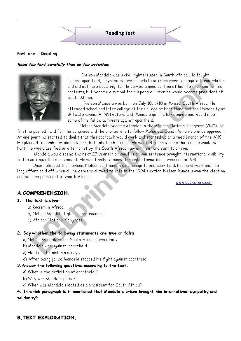 Nelson Mandela .The man who fought apartheid - ESL worksheet by Arwabblp