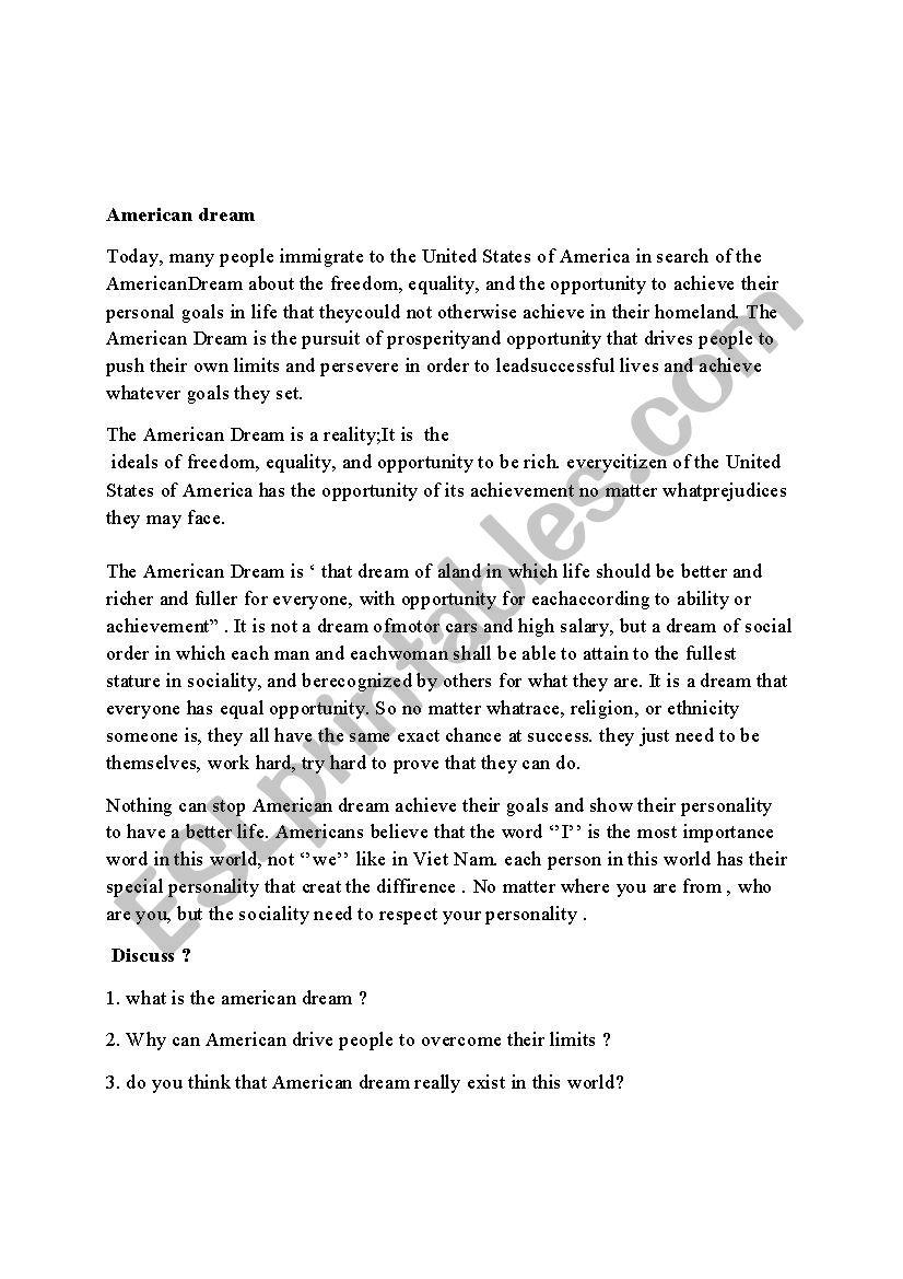 American dream worksheet