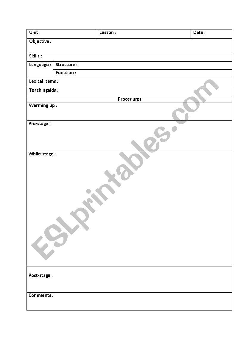 Lesson Plan Template Esl Worksheet By Salwadel