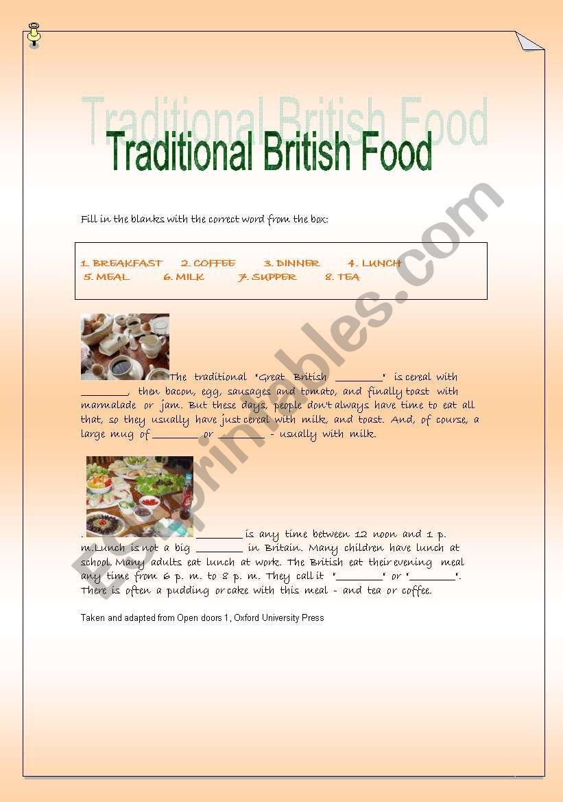 Traditional British Food worksheet