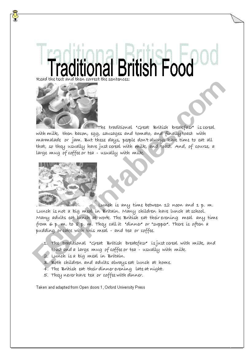 traditional British Food - worksheet