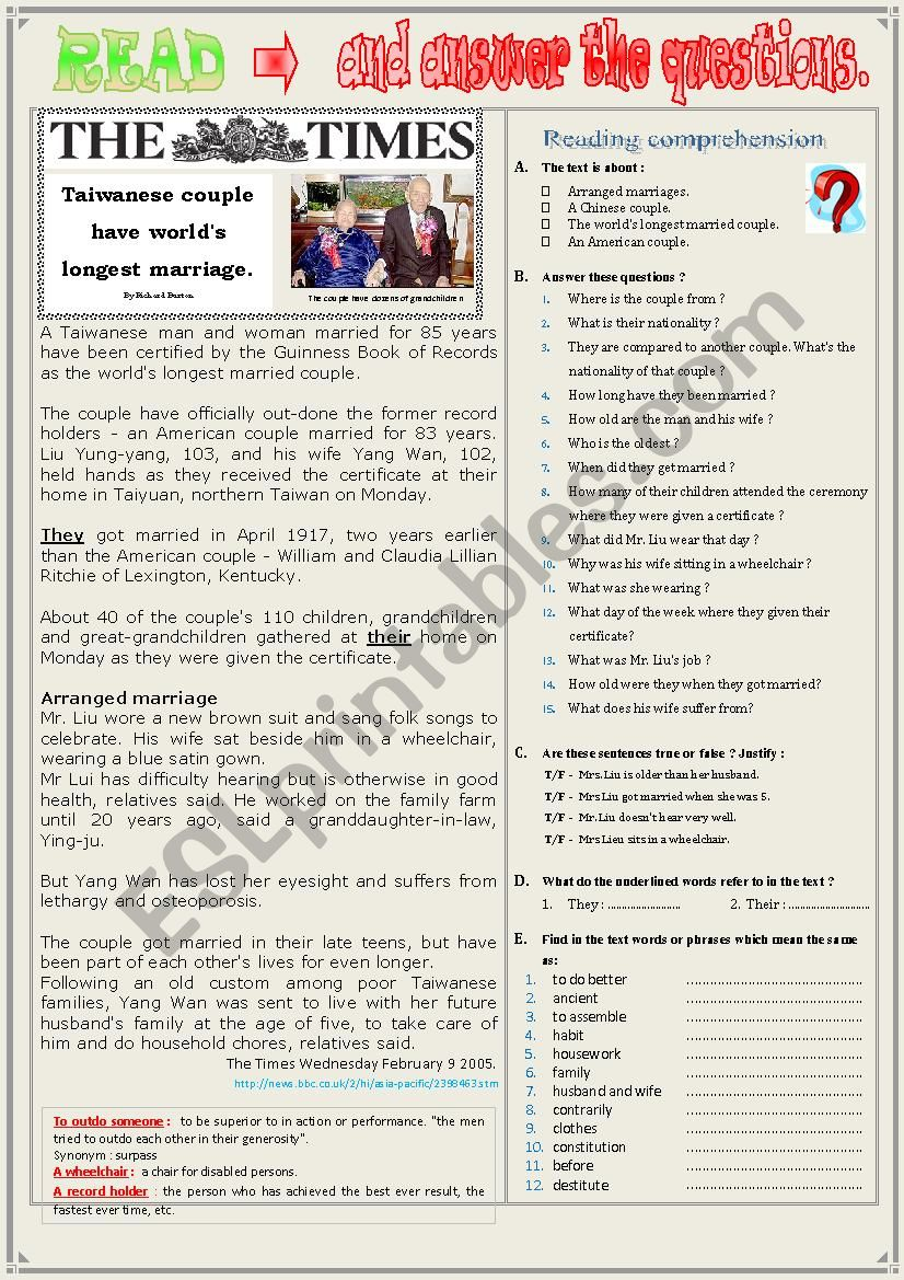 TAIWANESE COUPLE HAVE WORLD´S LONGEST MARRIAGE  -   Reading Comprehension + Questions + KEY.