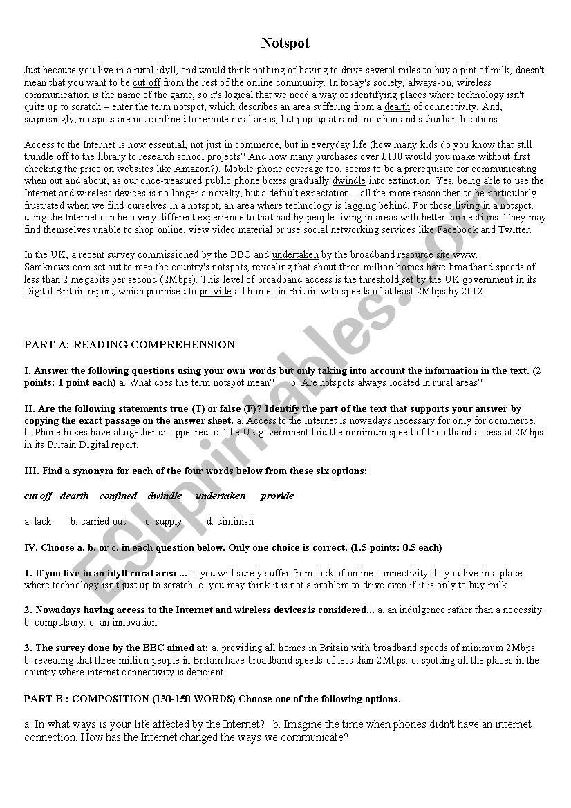 Notspot worksheet