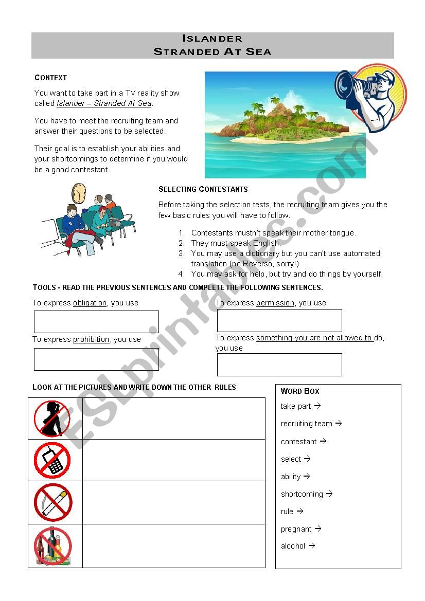 Islander worksheet