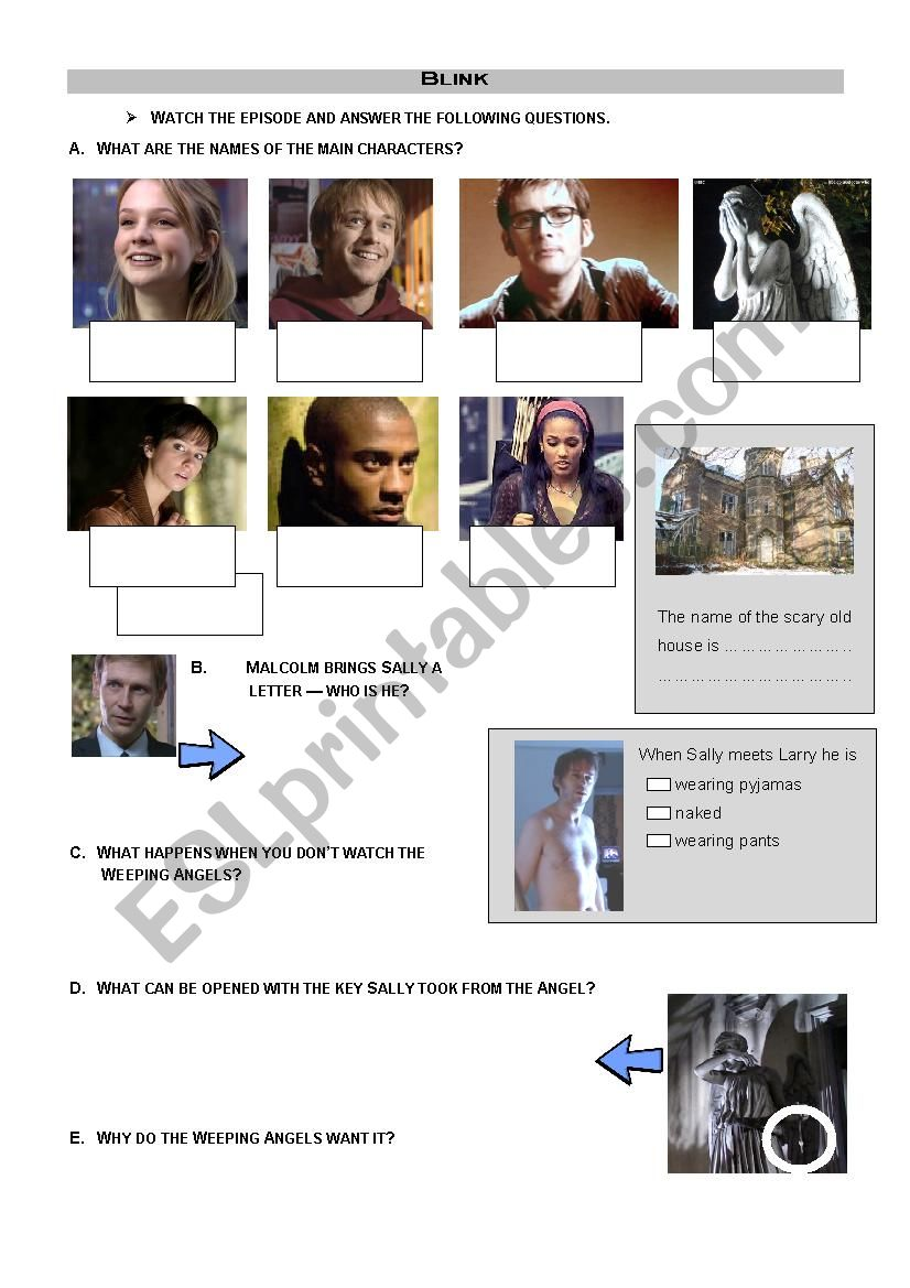 Doctor Who - Blink worksheet