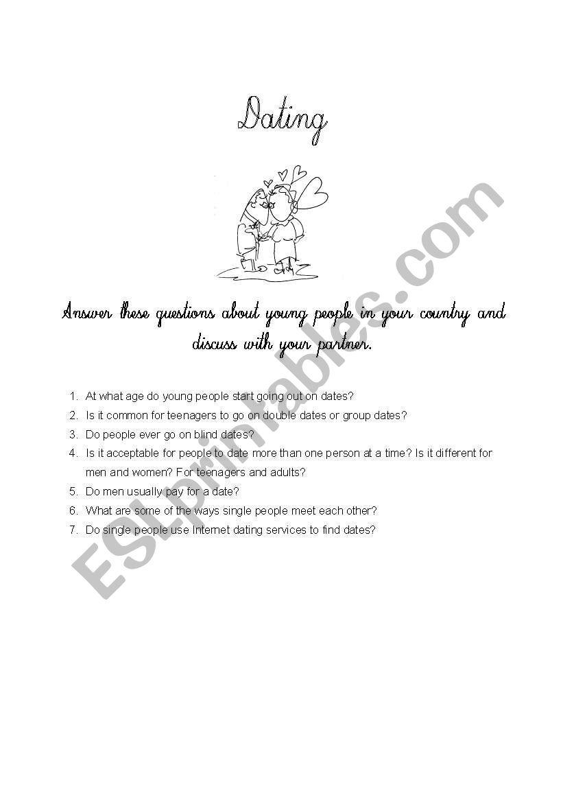Dating customs worksheet