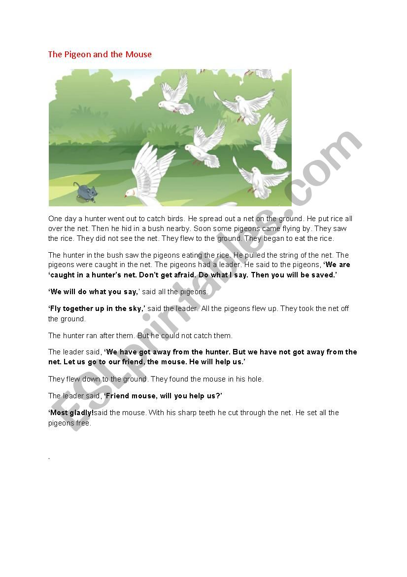 The pigeon and the mouse worksheet