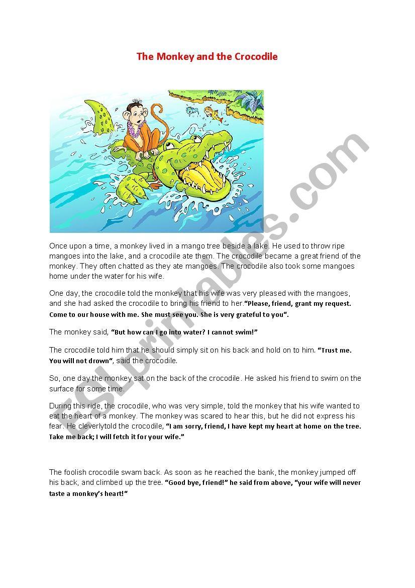 The monkey and the crocodile  worksheet