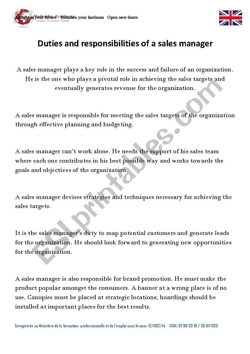 Responsiblities of a sales manager