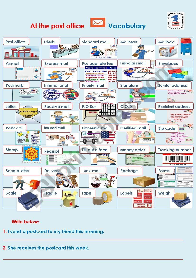 At The Post Office Vocabulary Esl Worksheet By Sunshinenikki