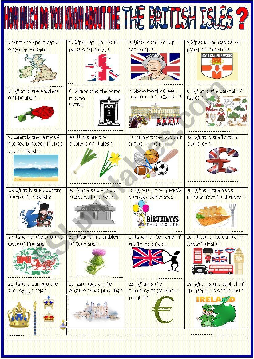 British Isles  36 question quiz with key