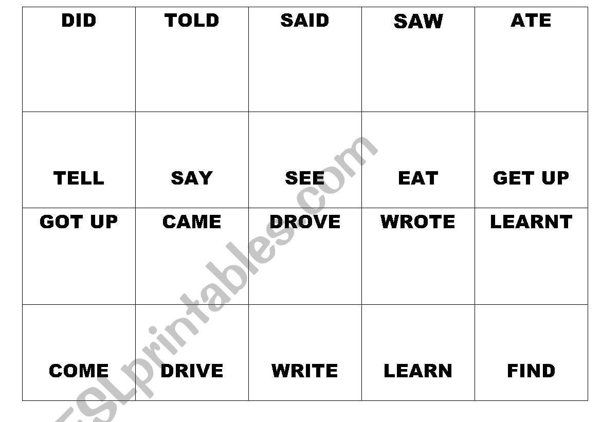 past & present domino verbs worksheet