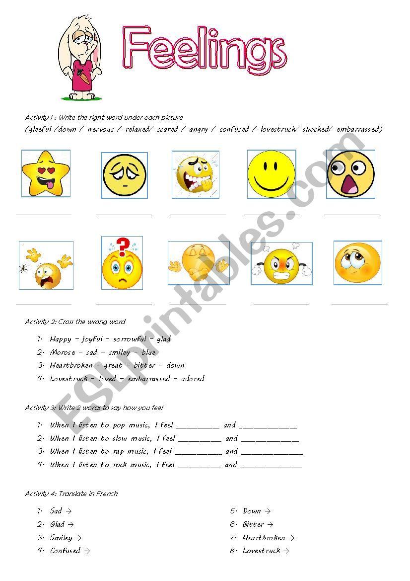 FEELINGS - ESL worksheet by Booxaki