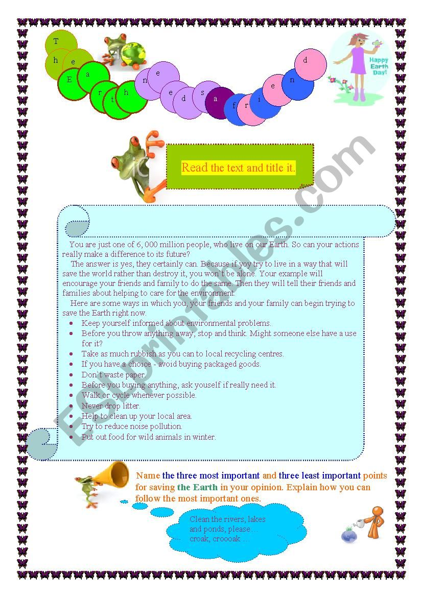 The Earth needs a friend worksheet