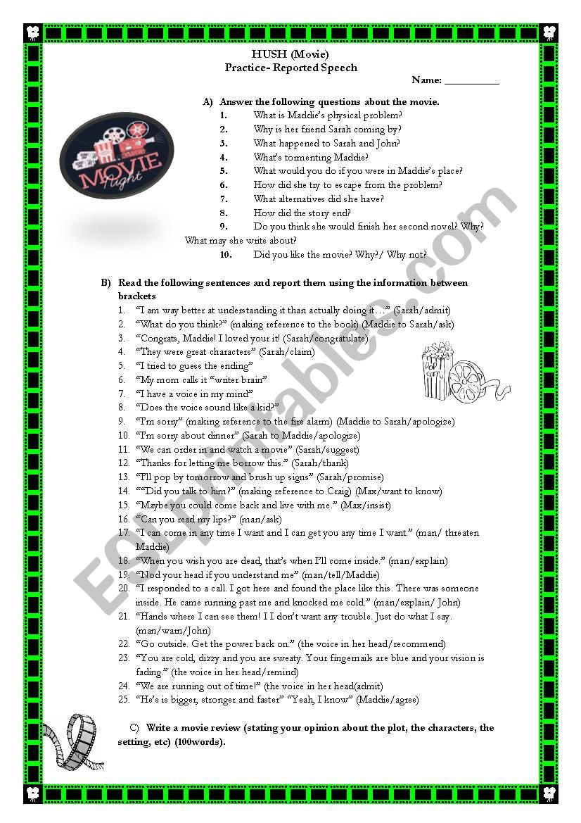 HUSH Movie Worksheet worksheet