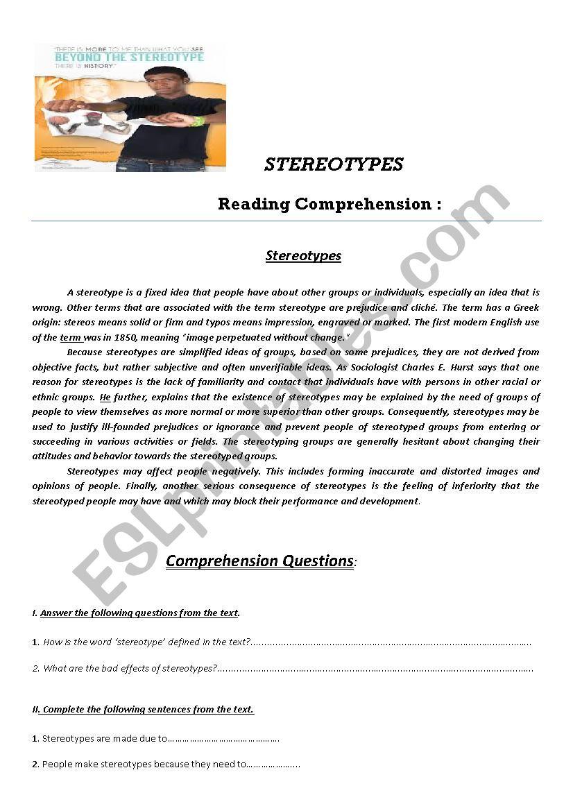 Worksheets Stereotype Worksheets stereotypes esl worksheet by teacher63 worksheet