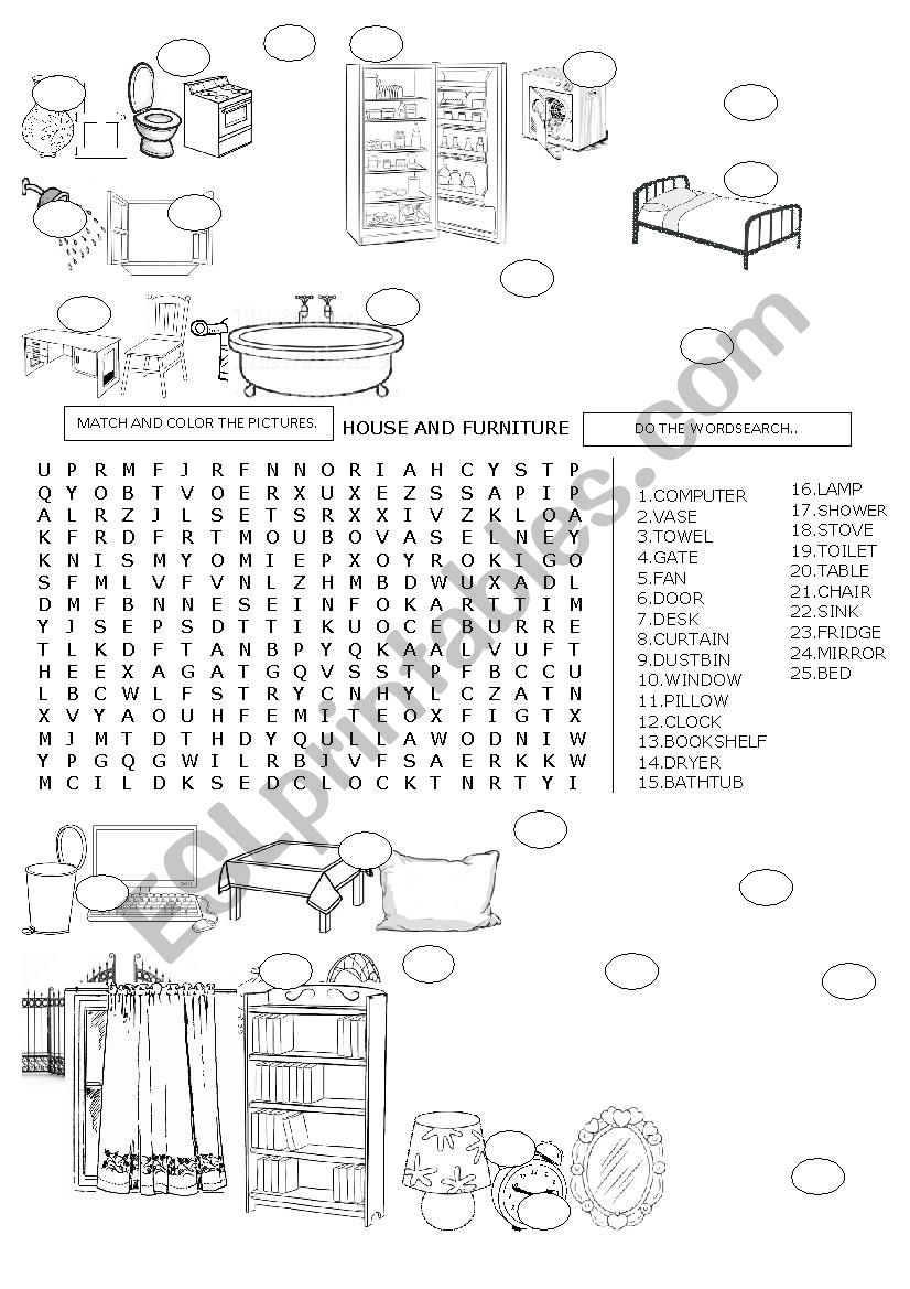 WORDSEARCH HOUSE AND FURNITURE