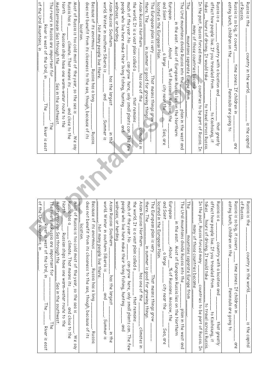 Russian geography handout worksheet