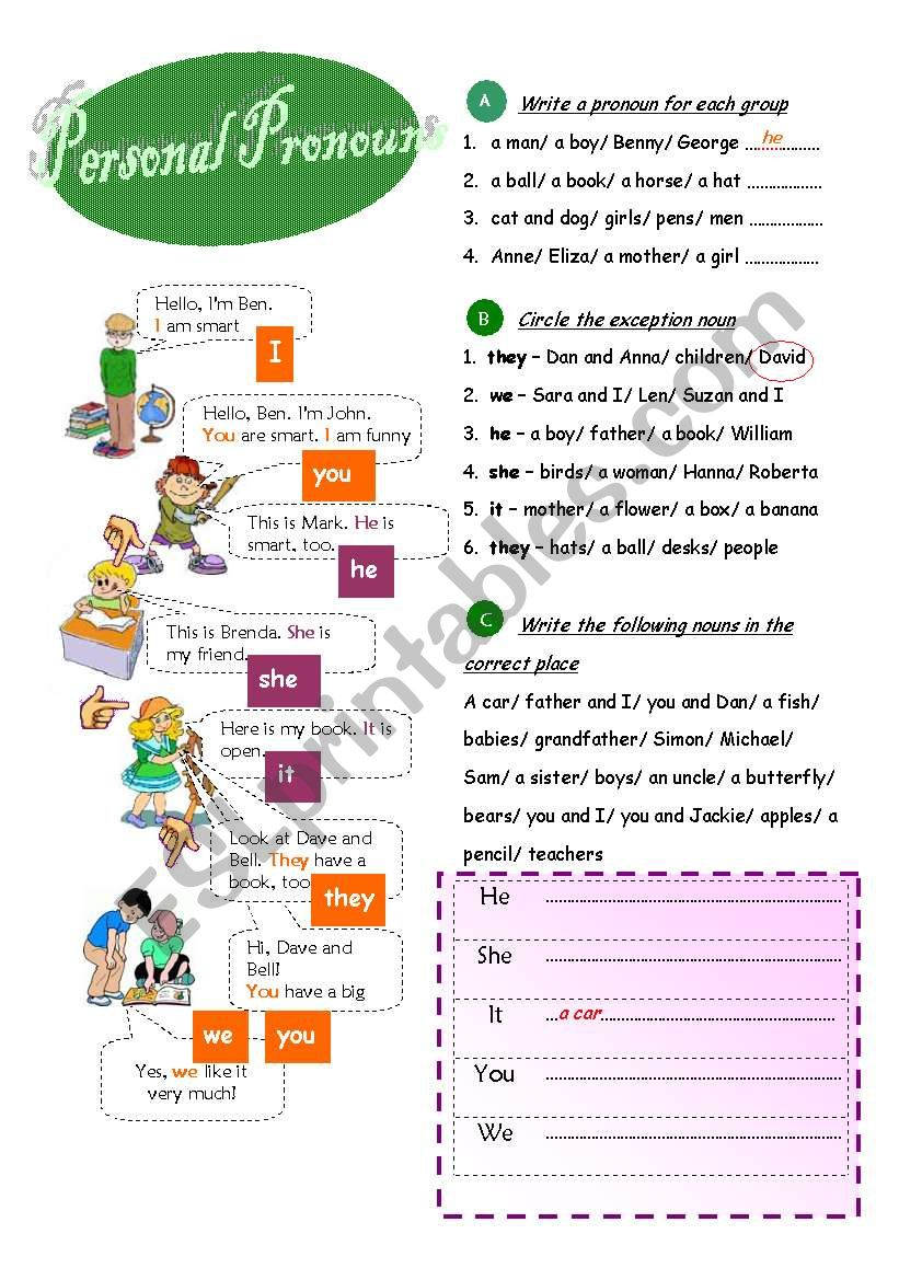 Personal pronouns worksheet