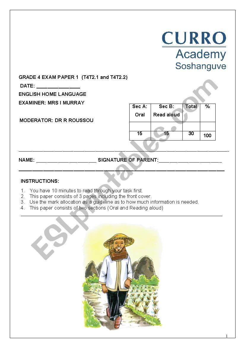 Creative Writing Exam worksheet