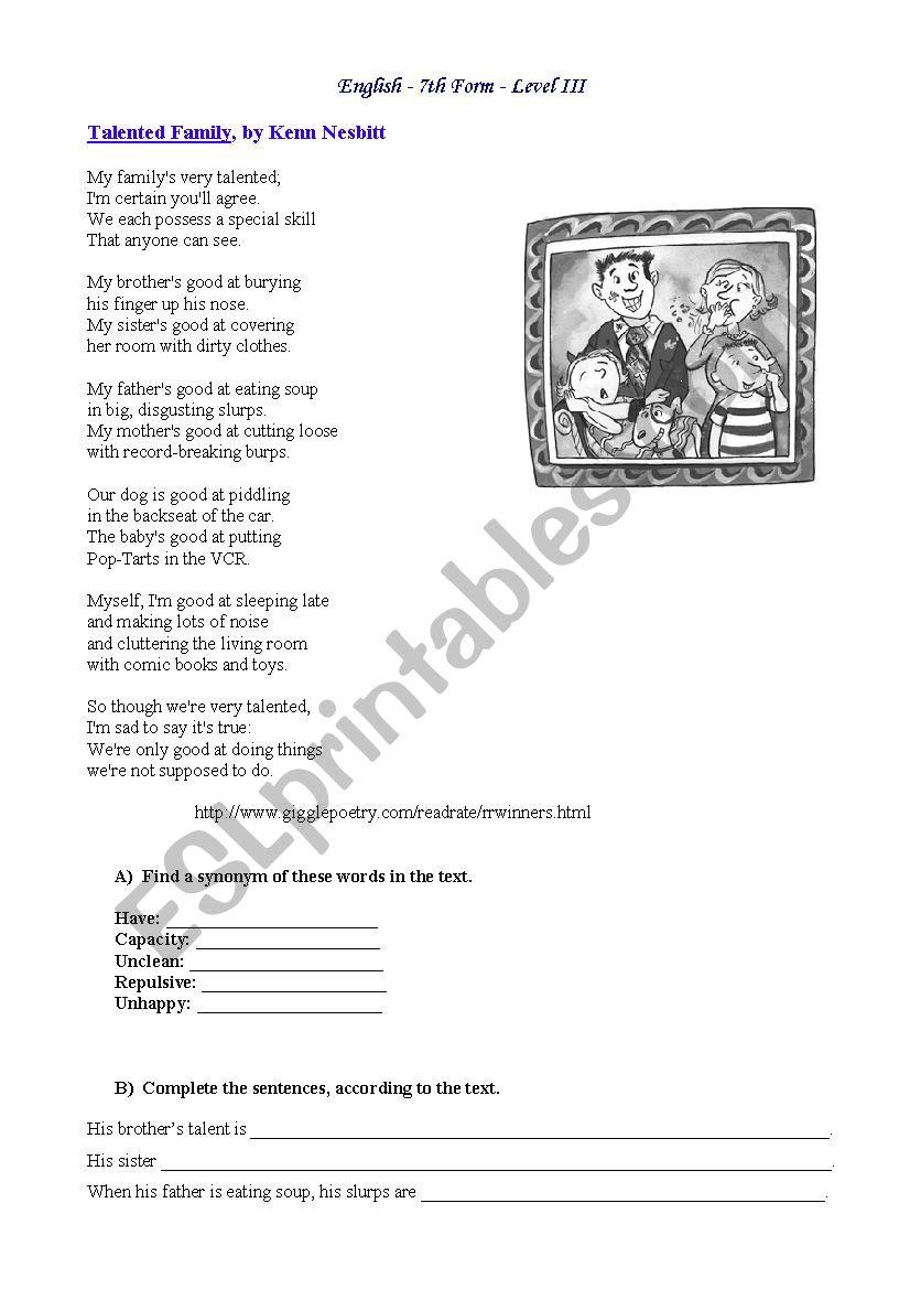 Talented family (poem) - ESL worksheet by paulinhaguiar