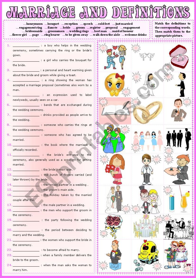 MARRIAGE and Definitions 1 + KEY