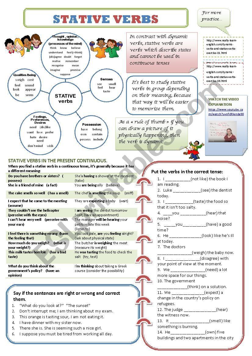 STATIVE VERBS worksheet
