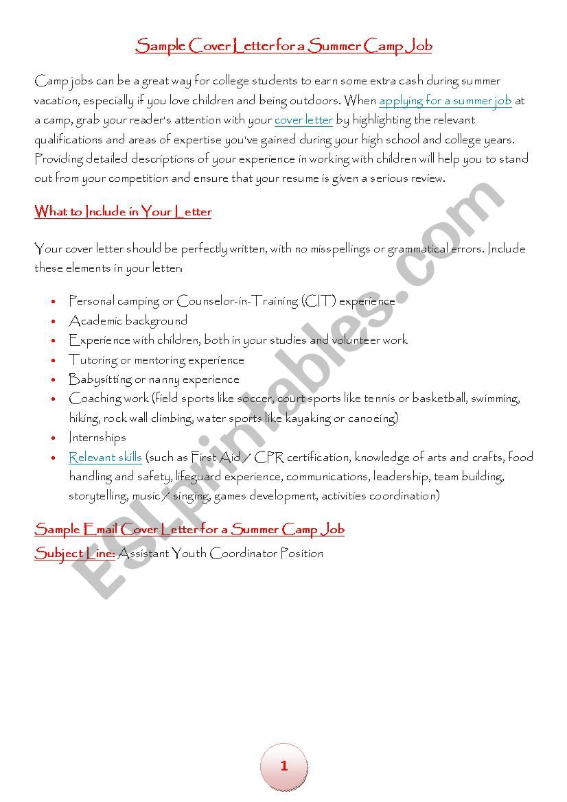 camp leader application letter - ESL worksheet by stulipe