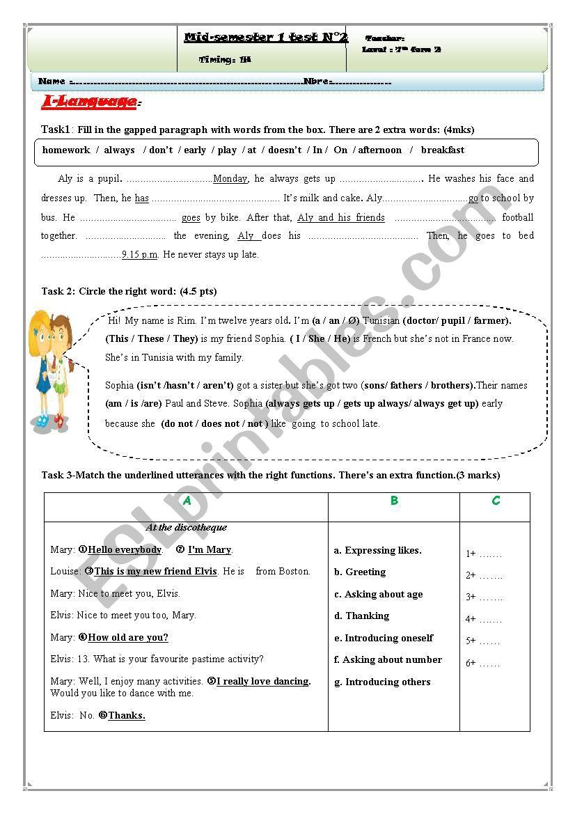 mid-semester 1 test N 2 7th form tunisian pupils