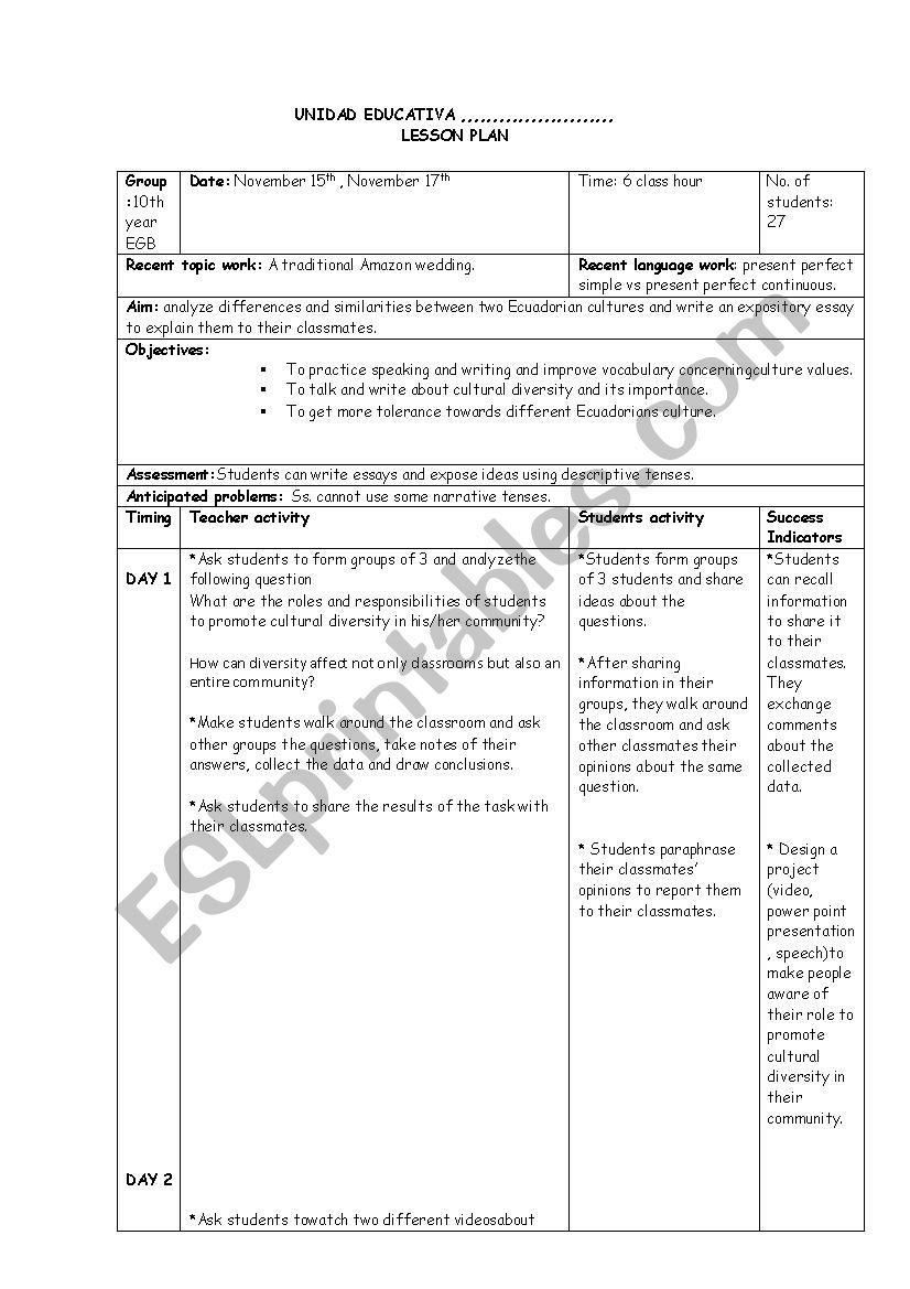 Lesson plan on Cultural Diversity - ESL worksheet by domagama