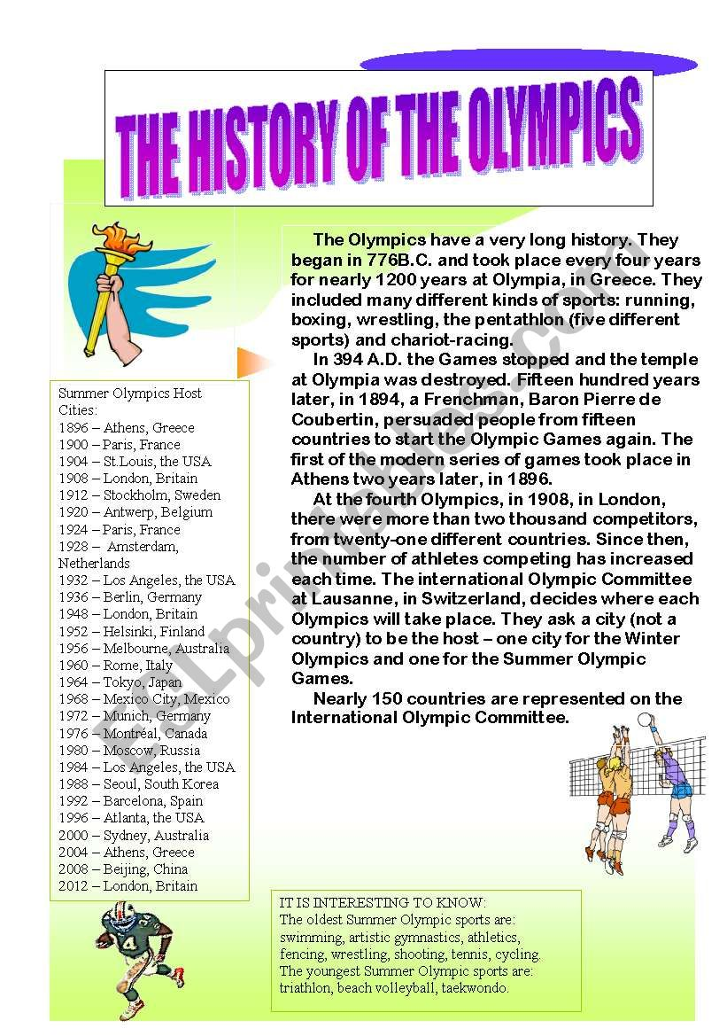 The History of the Olympics worksheet