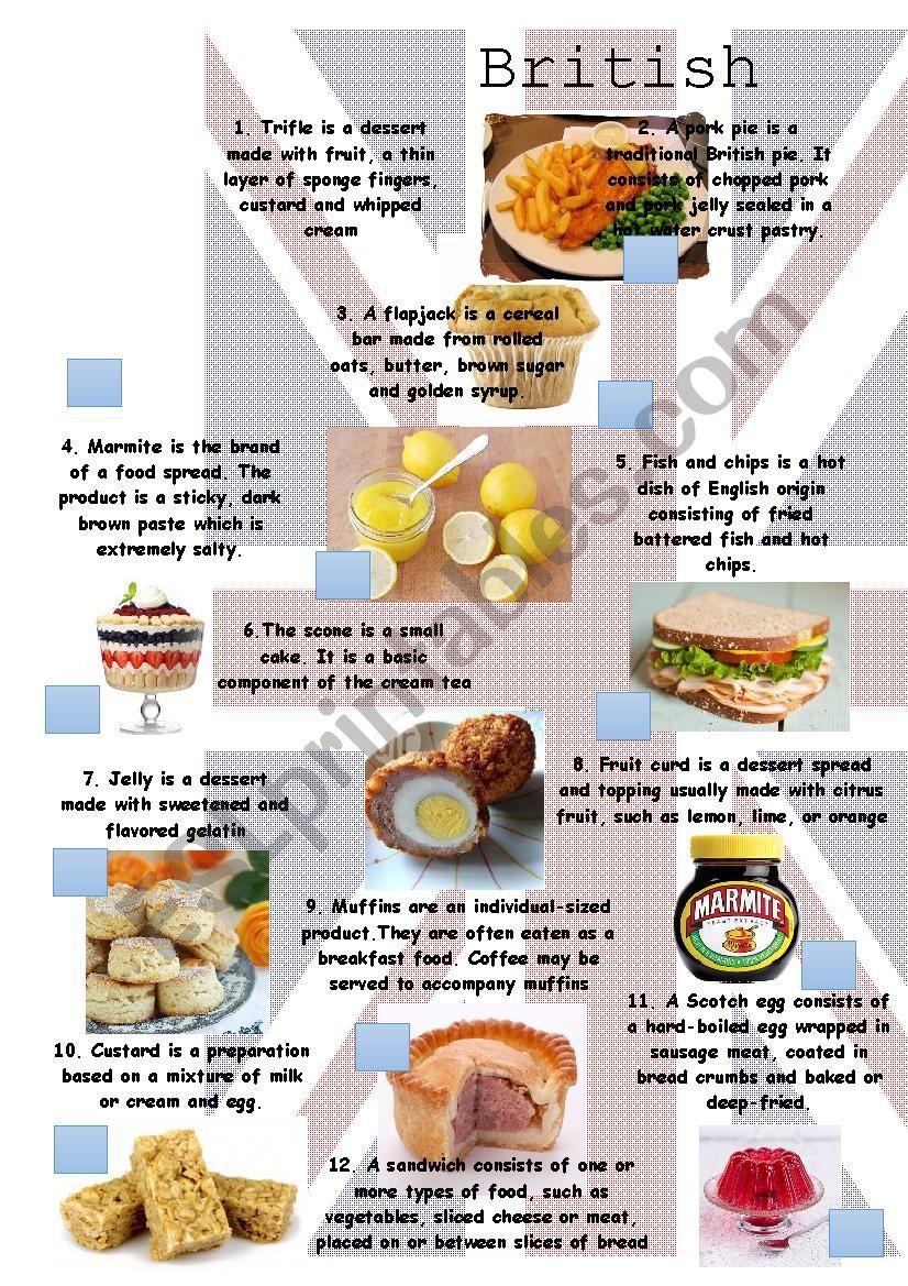 British Food worksheet worksheet