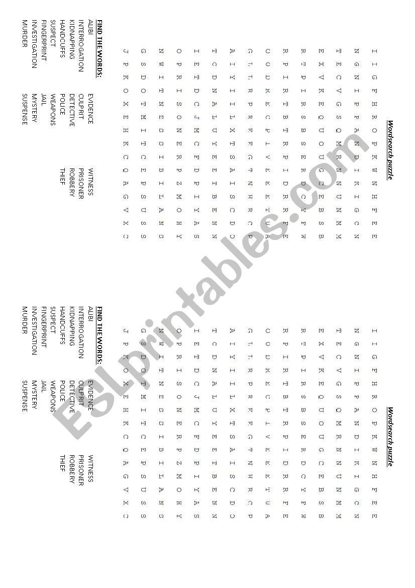 Detective stories Wordsearch worksheet