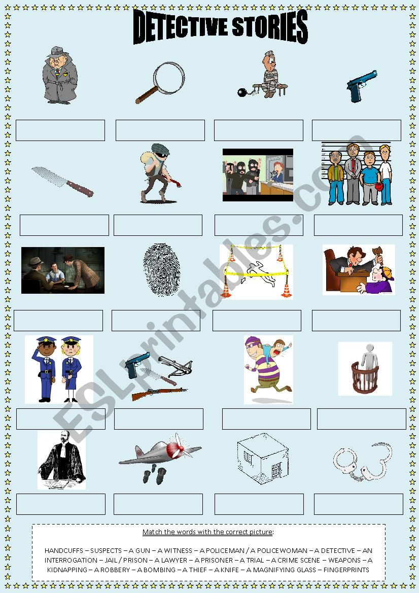 Detective stories Vocabulary worksheet