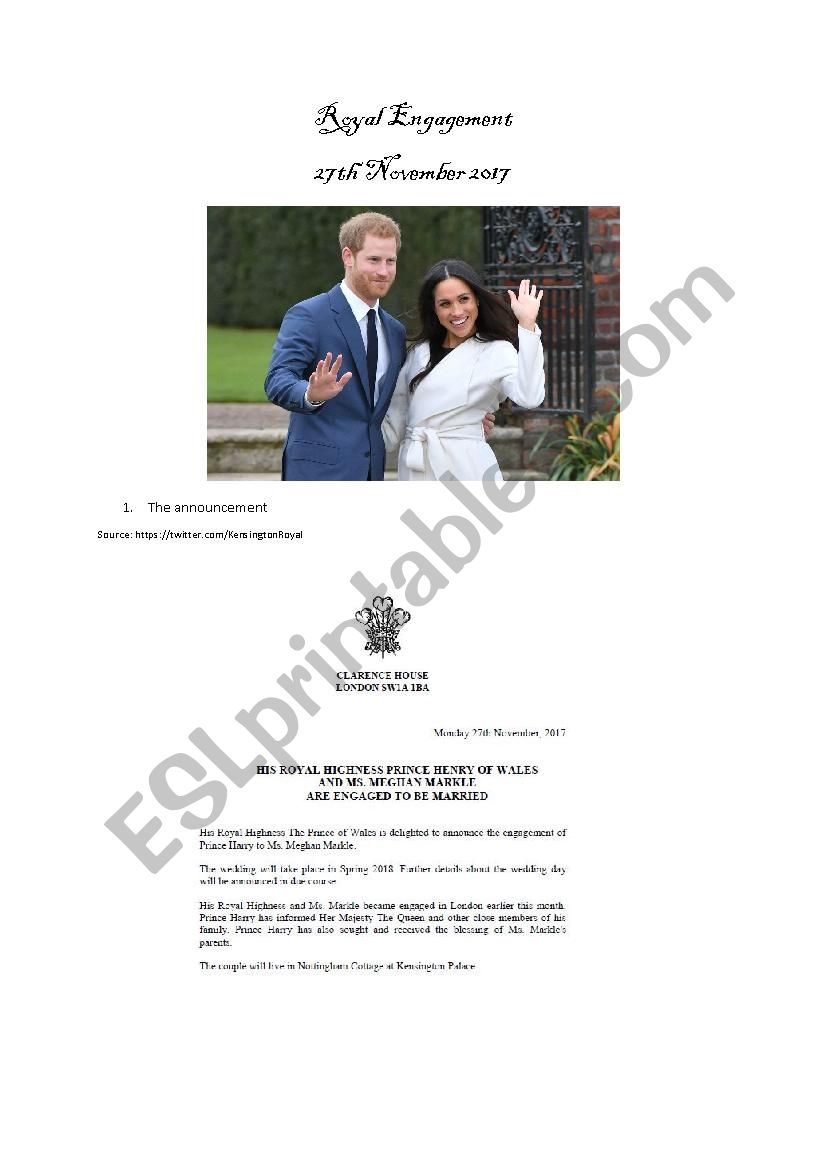Royal Engagement (Prince Harry and Meghan Markle)