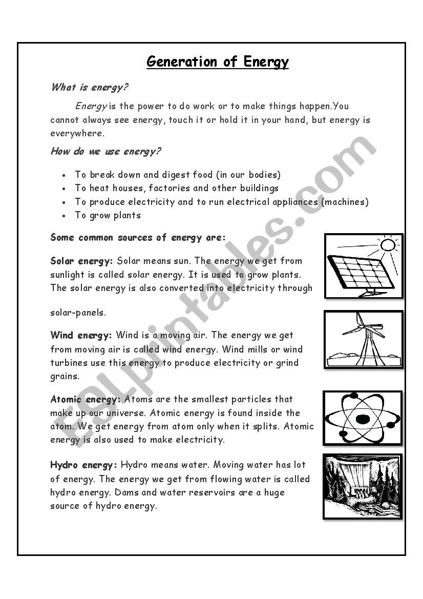 Generation of Energy worksheet