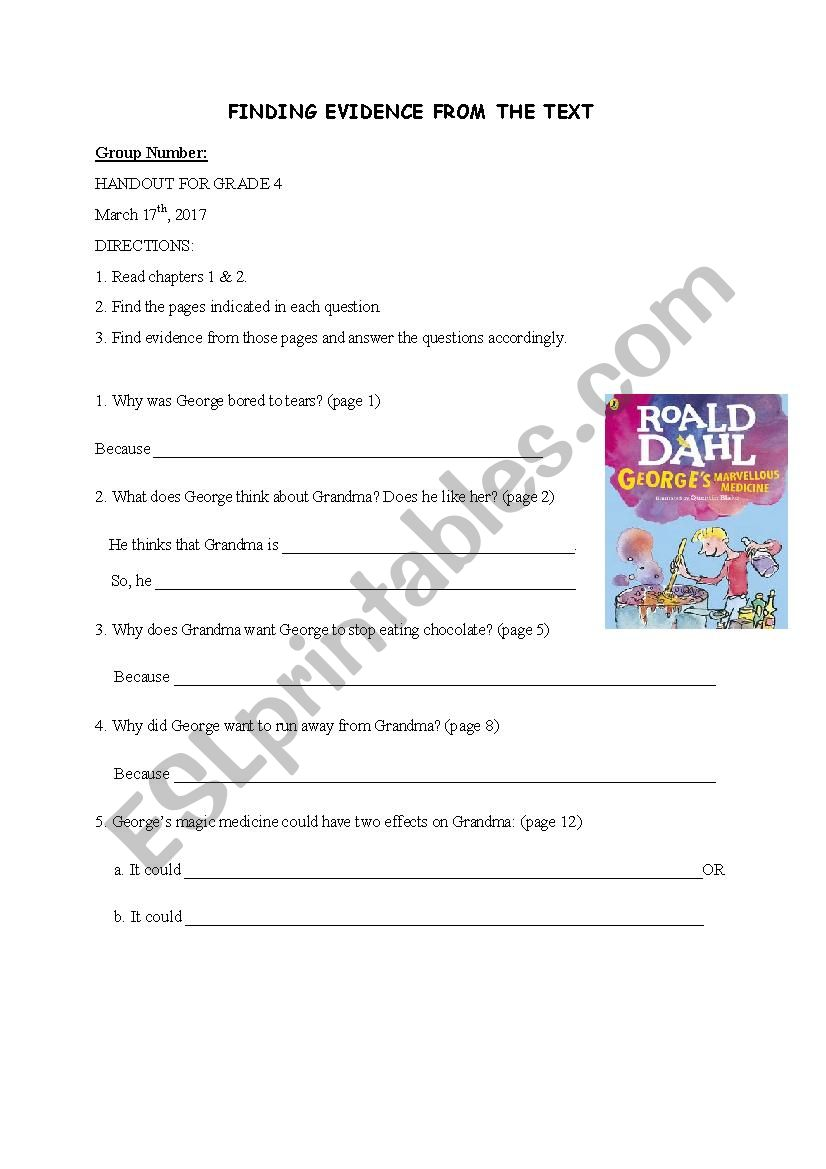 George´s Marvellous Medicine Finding Evidence  Handout
