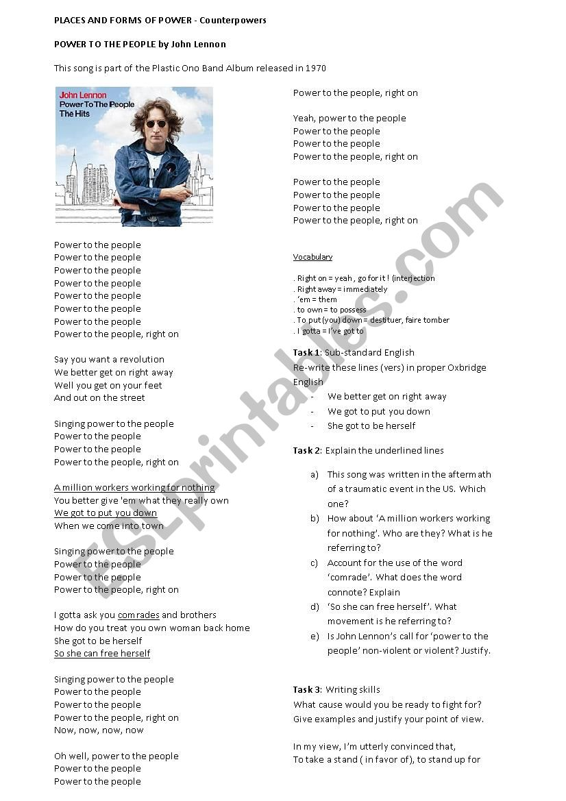 Power to the people a song by John Lennon worksheet - ESL