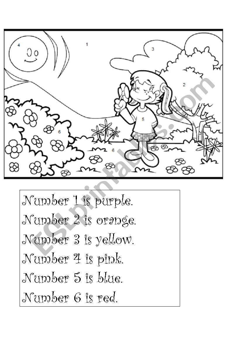 Numbers and colours worksheet