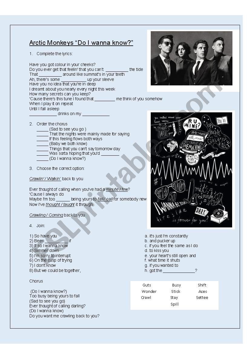Song Arctic Monkeys worksheet