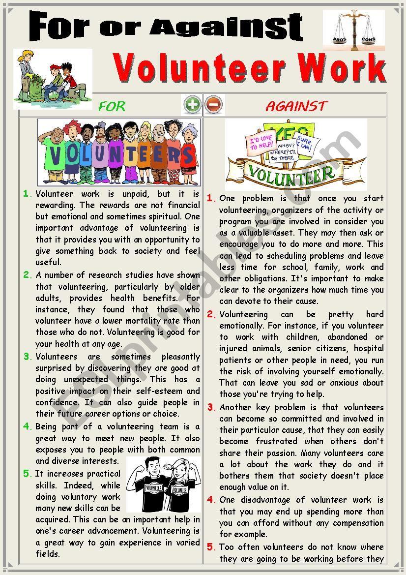 For or Against VOLUNTEER WORK or VOLUNTEERING. (Debating)