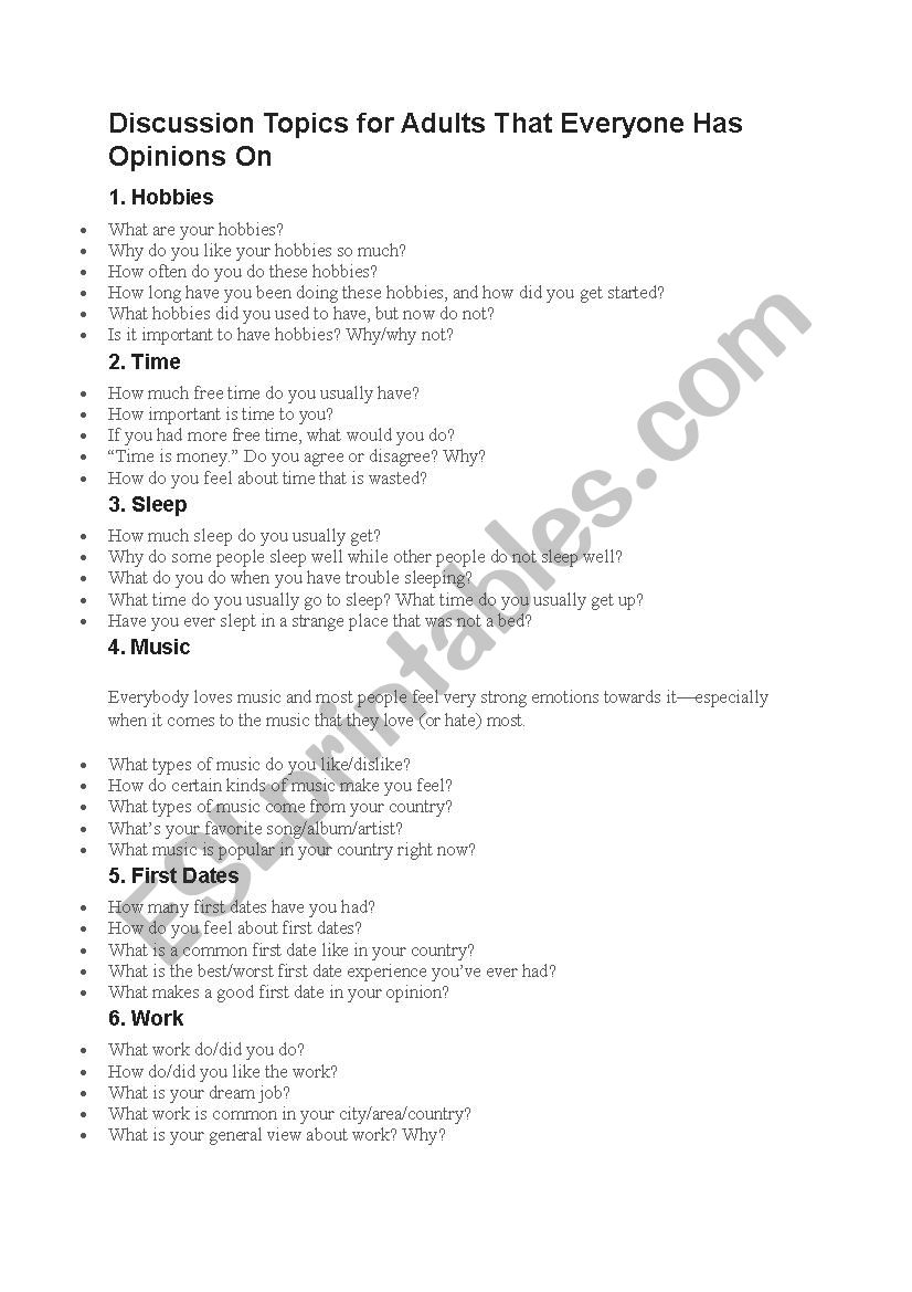 Discussion topics worksheet