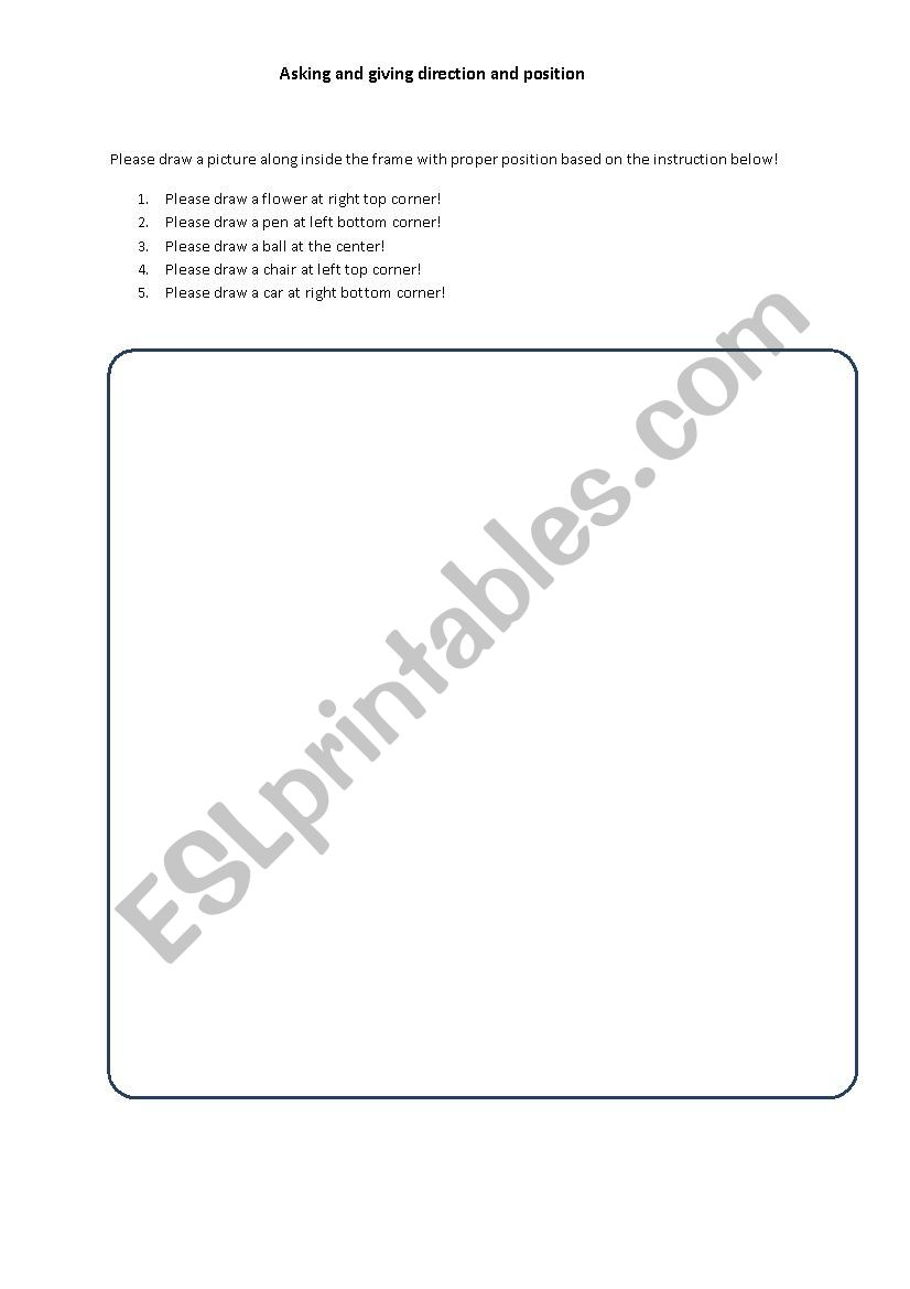 Asking direction and position worksheet