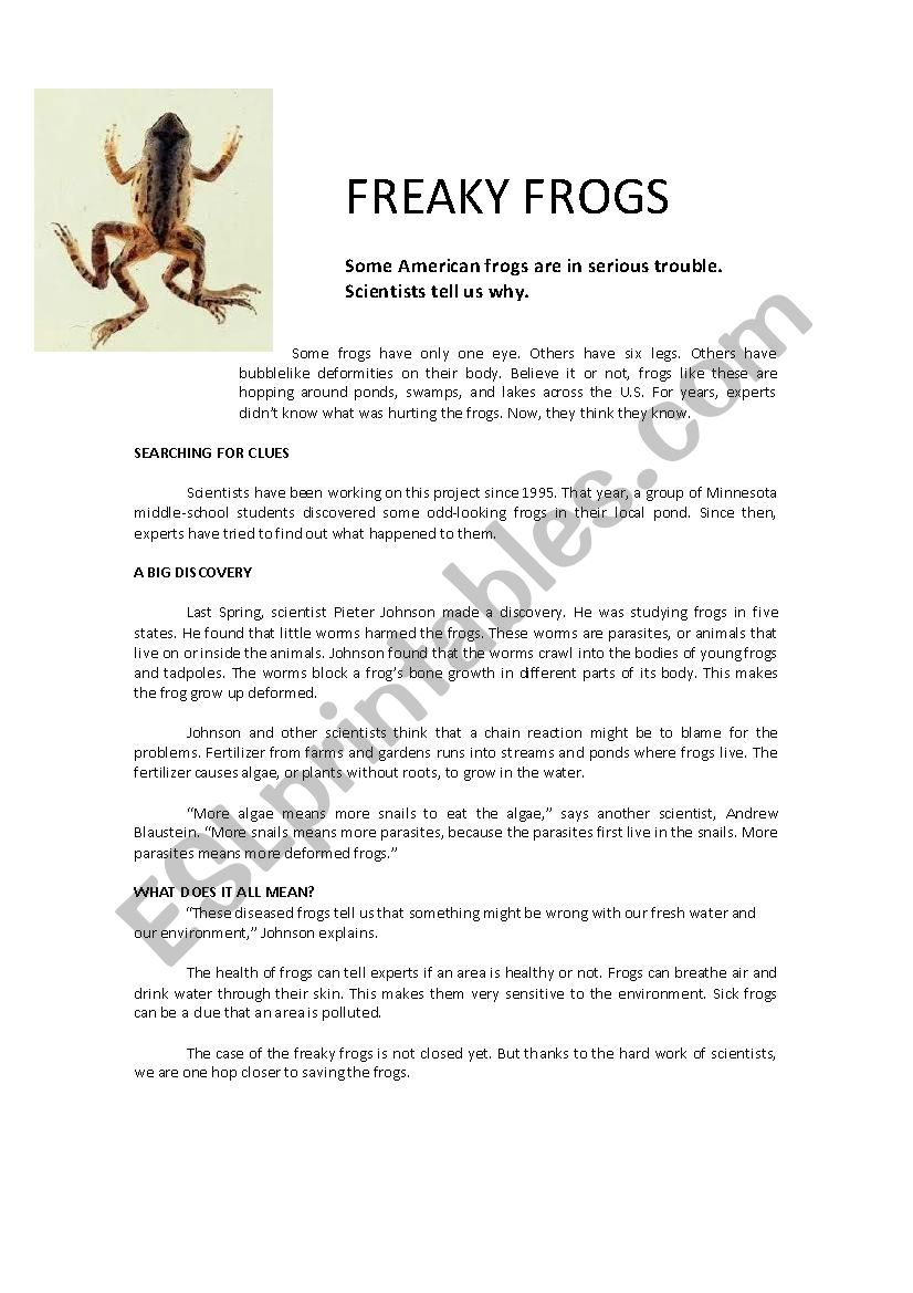 Freaky Frogs worksheet