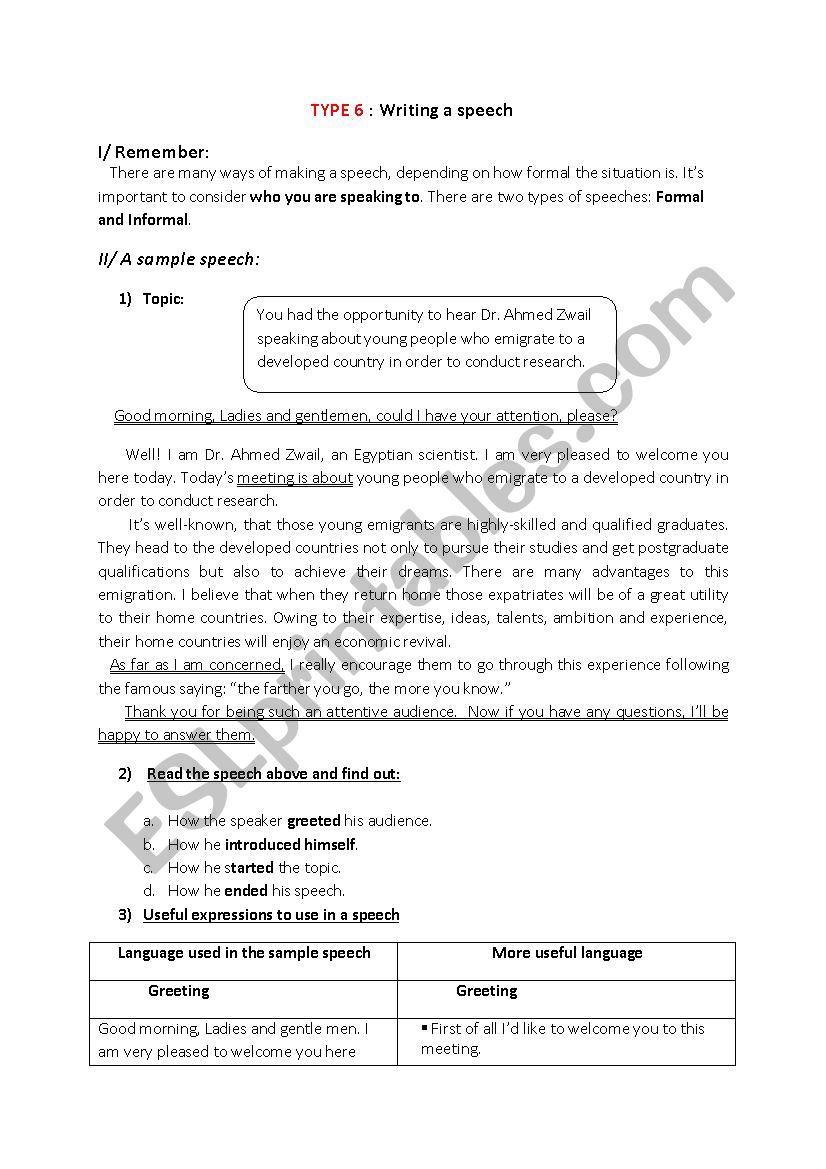 Writing A Speech Esl Worksheet By Sarsar