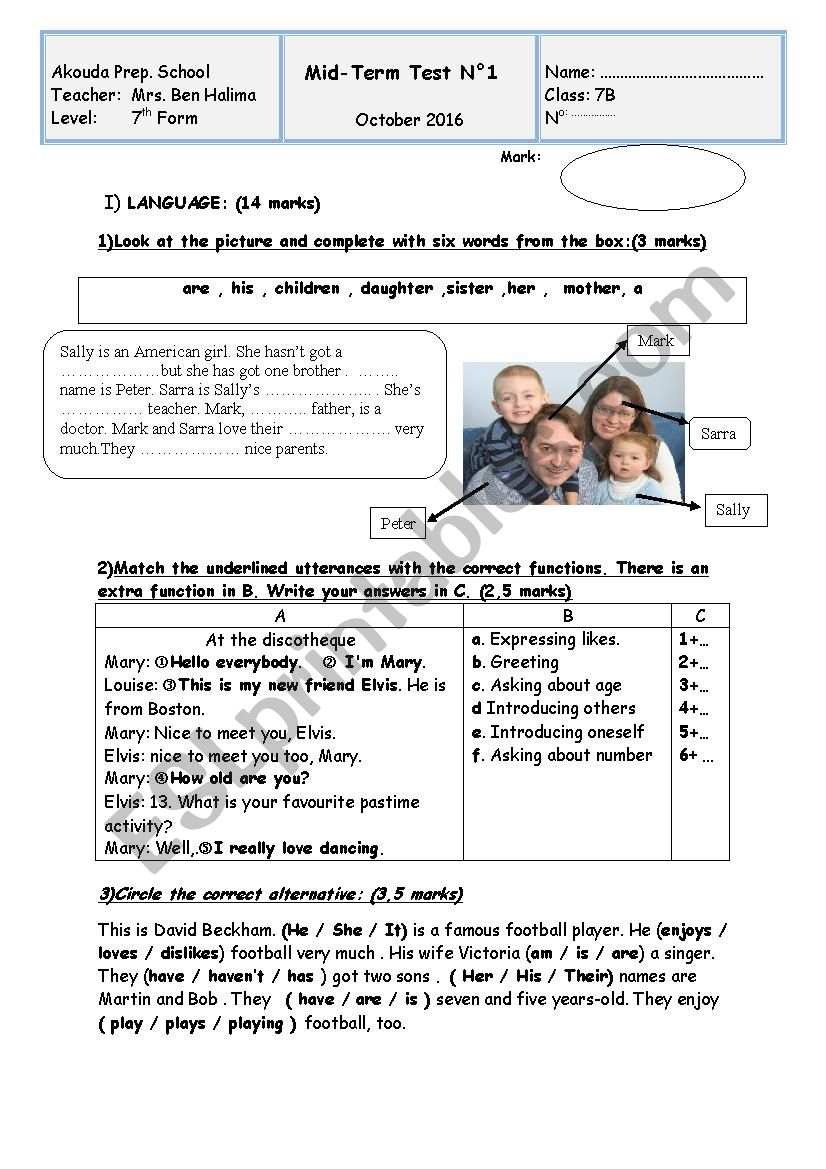 Mid Test N1 for 7th forms worksheet